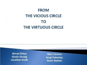 FROM THE VICIOUS CIRCLE TO THE VIRTUOUS CIRCLE