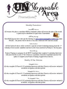 Promotions Monthly Promotions Focus 400 Achievers All women
