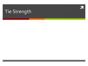 Tie Strength Strong vs Weak Ties Strong ties