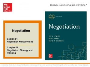 Because learning changes everything Negotiation Section 01 Negotiation