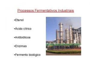 Processos Fermentativos Industriais Etanol cido ctrico Antibiticos Enzimas