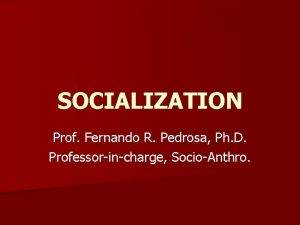 SOCIALIZATION Prof Fernando R Pedrosa Ph D Professorincharge