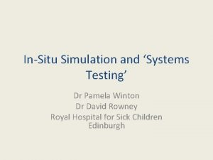InSitu Simulation and Systems Testing Dr Pamela Winton