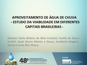 APROVEITAMENTO DE GUA DE CHUVA ESTUDO DA VIABILIDADE