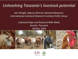 Unleashing Tanzanias livestock potential Iain Wright Deputy Director