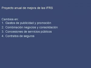 Proyecto anual de mejora de las IFRS Cambios