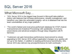 SQL Server 2016 What Microsoft Say SQL Server