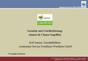 Garantie und Gewhrleistungeinmal als Chance begriffen Rolf Jansen