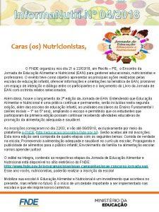 Informa Nutri N 042018 Caras os Nutricionistas O