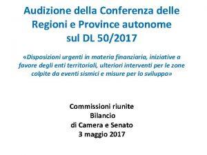 Audizione della Conferenza delle Regioni e Province autonome