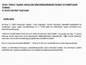 EK III TOPLU TAIMA ARALARI N ERLEBLRLK ZLEME