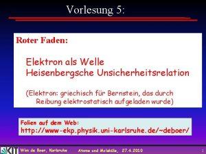 Vorlesung 5 Roter Faden Elektron als Welle Heisenbergsche