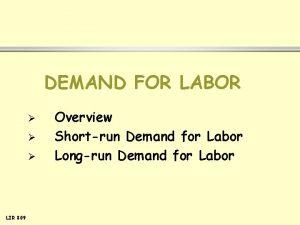 DEMAND FOR LABOR LIR 809 Overview Shortrun Demand