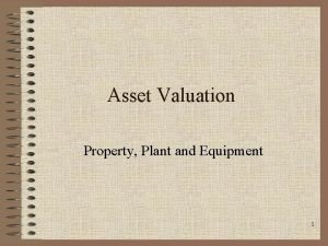 Asset Valuation Property Plant and Equipment 1 Introduction