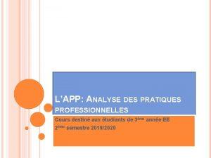 LAPP ANALYSE DES PRATIQUES PROFESSIONNELLES Cours destin aux