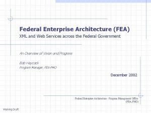 Federal Enterprise Architecture FEA XML and Web Services