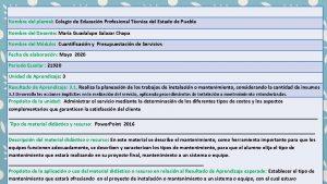 Nombre del plantel Colegio de Educacin Profesional Tcnica