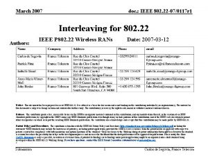 March 2007 doc IEEE 802 22 070117 r