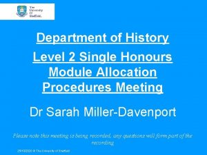 Department of History Level 2 Single Honours Module
