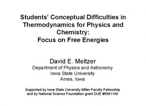 Students Conceptual Difficulties in Thermodynamics for Physics and