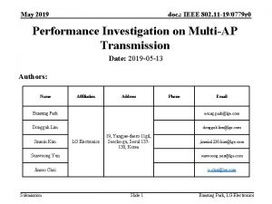 May 2019 doc IEEE 802 11 190779 r