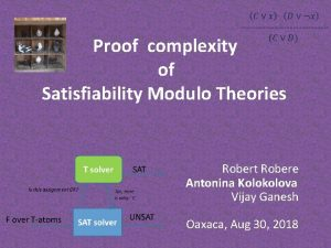 Proof complexity of Satisfiability Modulo Theories Robert Robere