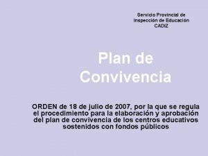Servicio Provincial de Inspeccin de Educacin CADIZ Plan