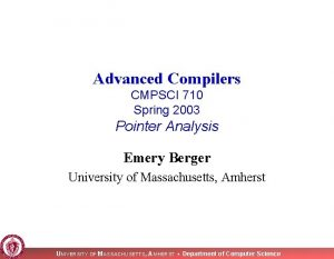 Advanced Compilers CMPSCI 710 Spring 2003 Pointer Analysis
