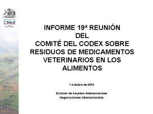 INFORME 19 REUNIN DEL COMIT DEL CODEX SOBRE