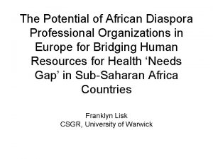 The Potential of African Diaspora Professional Organizations in