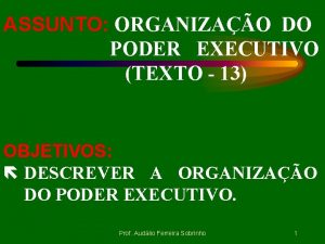 ASSUNTO ORGANIZAO DO PODER EXECUTIVO TEXTO 13 OBJETIVOS