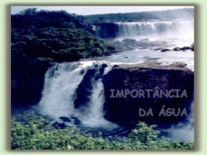A IMPORT NCIA DA GUA DISTRIBUIO DE GUA