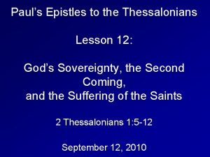 Pauls Epistles to the Thessalonians Lesson 12 Gods