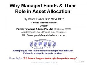 Why Managed Funds Their Role in Asset Allocation