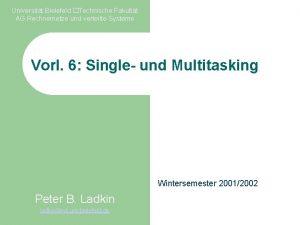 Universitt Bielefeld Technische Fakultt AG Rechnernetze und verteilte