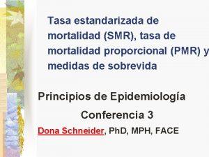 Tasa estandarizada de mortalidad SMR tasa de mortalidad
