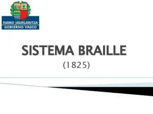 SISTEMA BRAILLE 1825 ORGENES 1809 Nace Louis Braille