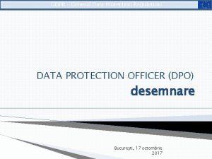 GDPR General Data Protection Regulation DATA PROTECTION OFFICER