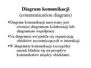 Diagram komunikacji communication diagram Diagram komunikacji nazywany jest