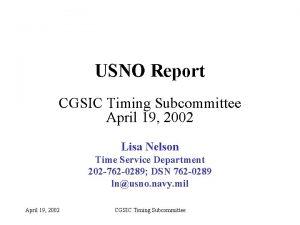 USNO Report CGSIC Timing Subcommittee April 19 2002
