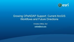 Growing OPe NDAP Support Current Arc GIS Workflows