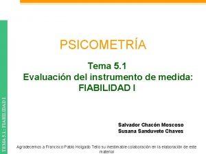 PSICOMETRA TEMA 5 1 FIABILIDAD I Tema 5