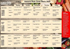 Autumn Pack Lunch Menu 2020 Monday Week One