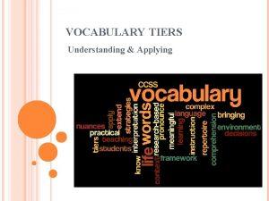 VOCABULARY TIERS Understanding Applying VOCABULARY PYRAMID The Tier