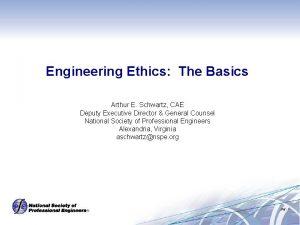 Engineering Ethics The Basics Arthur E Schwartz CAE