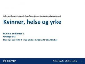 Solveig Osborg Ose dr politsamfunnskonomiarbeidsmarkedskonomi Kvinner helse og