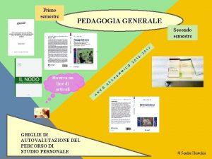 Primo semestre PEDAGOGIA GENERALE Secondo semestre 2 Ricerca