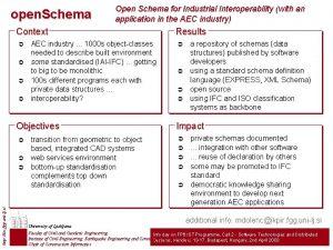 open Schema Open Schema for Industrial Interoperability with
