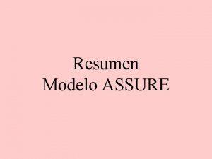 Resumen Modelo ASSURE Por qu utilizar el modelo