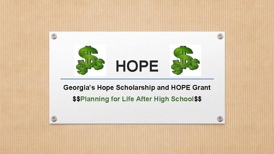 HOPE Georgias Hope Scholarship and HOPE Grant Planning